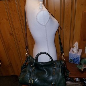 DOONEY BOURKE XL PEBBLED LEATHER GREEN SATCHEL